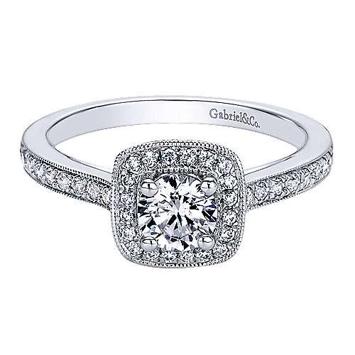 Gabriel - Harper 14k White Gold Round Halo Engagement Ring