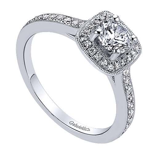 Harper 14k White Gold Round Halo Engagement Ring angle 3