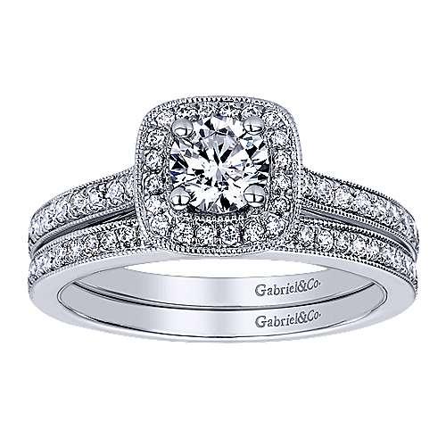 Harper 14k White Gold Round Halo Engagement Ring angle 4