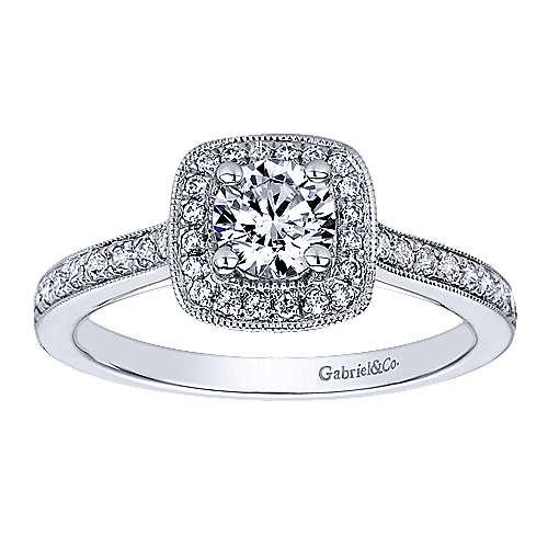 Harper 14k White Gold Round Halo Engagement Ring angle 5