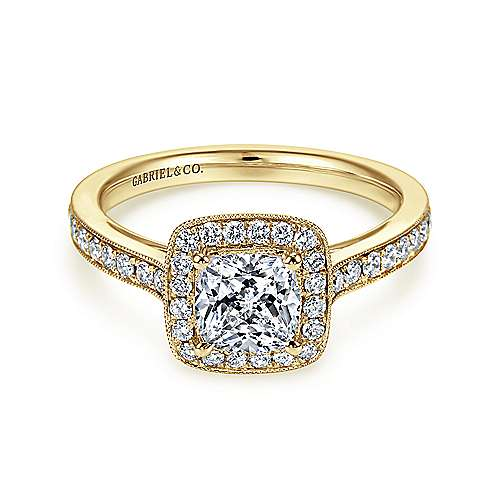 Gabriel - Harper 14k Yellow Gold Cushion Cut Halo Engagement Ring