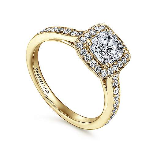 Harper 14k Yellow Gold Cushion Cut Halo Engagement Ring angle 3