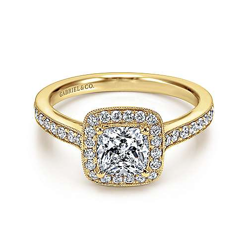 Harper 14k Yellow Gold Cushion Cut Halo Engagement Ring ... 3b1d417be420