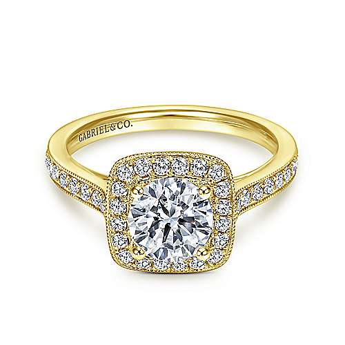 Gabriel - Harper 14k Yellow Gold Round Halo Engagement Ring