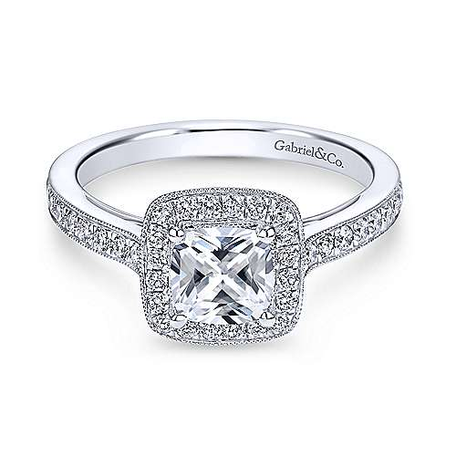 Gabriel - Harper 18k White Gold Cushion Cut Halo Engagement Ring