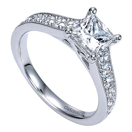 Harriet 14k White Gold Princess Cut Straight Engagement Ring angle 3
