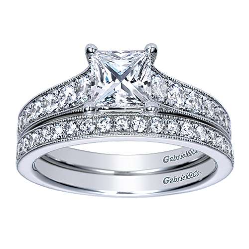 Harriet 14k White Gold Princess Cut Straight Engagement Ring angle 4