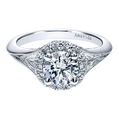 Gabriel - Harvest 18k White Gold Round Halo Engagement Ring