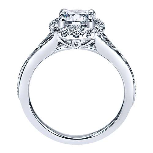 Harvest 18k White Gold Round Halo Engagement Ring angle 2