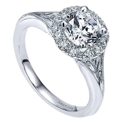 Harvest 18k White Gold Round Halo Engagement Ring angle 3
