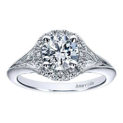 Harvest 18k White Gold Round Halo Engagement Ring angle 5