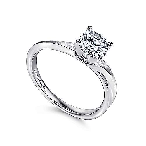 Hattie 14k White Gold Round Solitaire Engagement Ring angle 3
