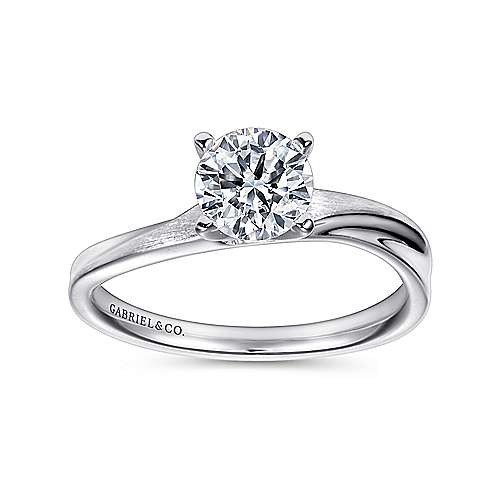 Hattie 14k White Gold Round Solitaire Engagement Ring angle 5