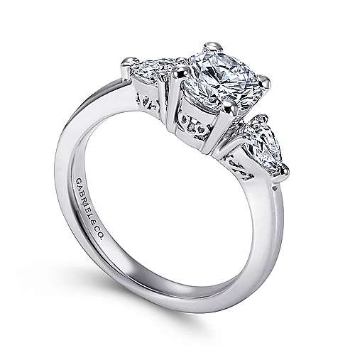 Haven 14k White Gold Round 3 Stones Engagement Ring