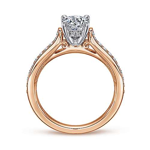 Hayden 14k White And Rose Gold Round Straight Engagement Ring angle 2