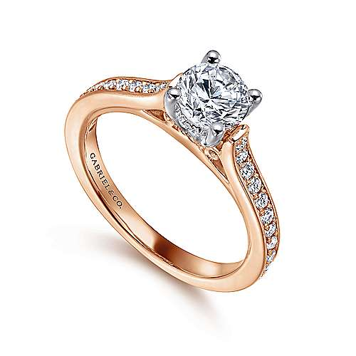 Hayden 14k White And Rose Gold Round Straight Engagement Ring angle 3