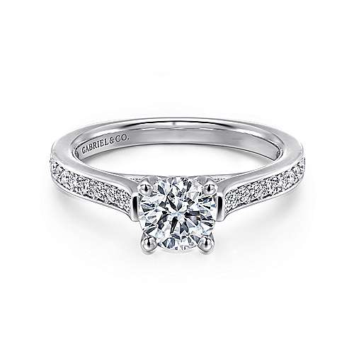 Gabriel - Hayden 14k White Gold Round Straight Engagement Ring