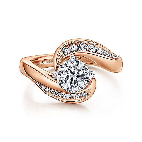 Gabriel - Hayley 14k White And Rose Gold Round Bypass Engagement Ring