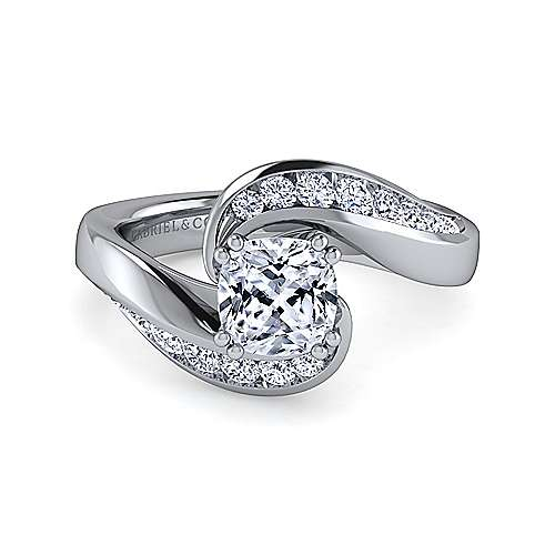 Gabriel - Hayley 14k White Gold Cushion Cut Bypass Engagement Ring