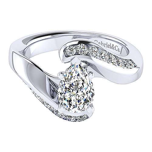 Gabriel - Hayley 14k White Gold Pear Shape Bypass Engagement Ring