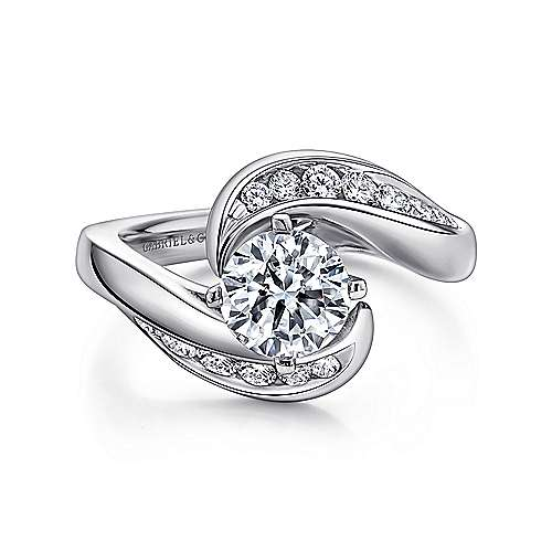 Hayley 14k White Gold Round Bypass Engagement Ring angle 1