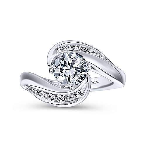 Hayley 14k White Gold Round Bypass Engagement Ring angle 5
