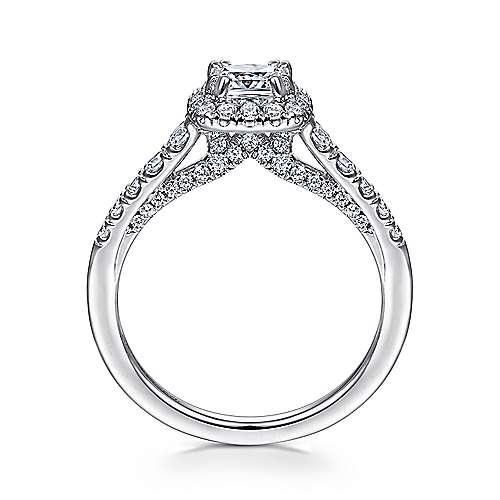 Hazel 14k White Gold Cushion Cut Halo Engagement Ring