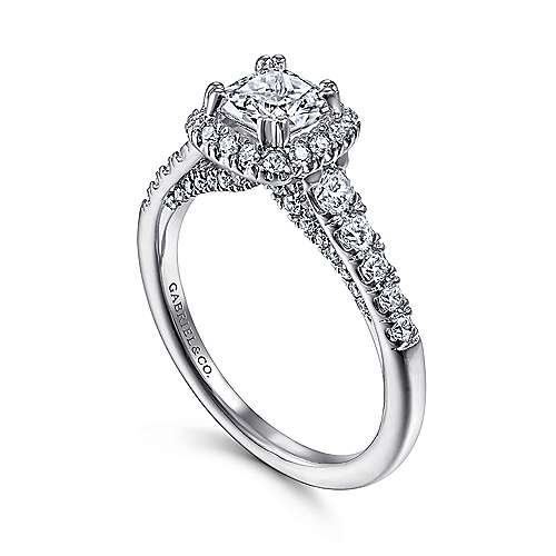 Hazel 14k White Gold Cushion Cut Halo Engagement Ring angle 3