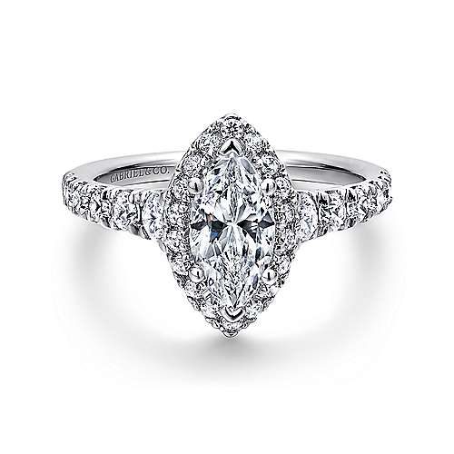 Gabriel - Hazel 14k White Gold Marquise  Halo Engagement Ring