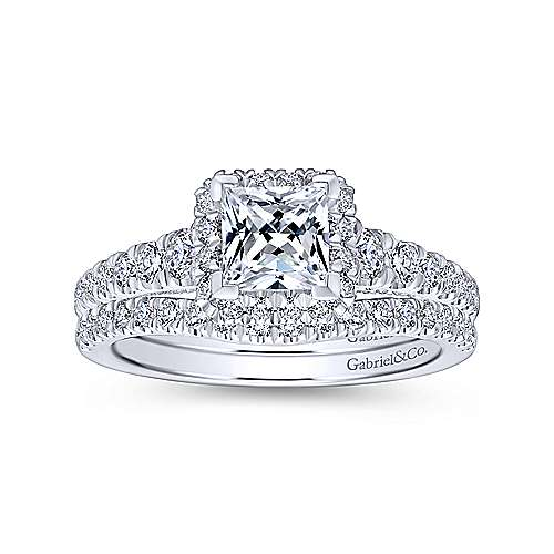 Hazel 14k White Gold Princess Cut Halo Engagement Ring angle 4