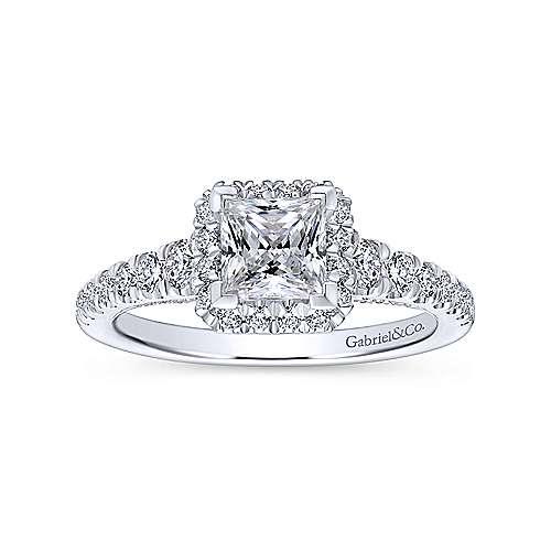 Hazel 14k White Gold Princess Cut Halo Engagement Ring angle 5