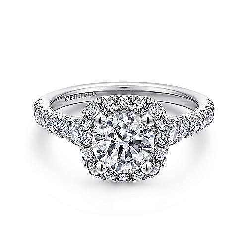 Gabriel - Hazel 14k White Gold Round Halo Engagement Ring