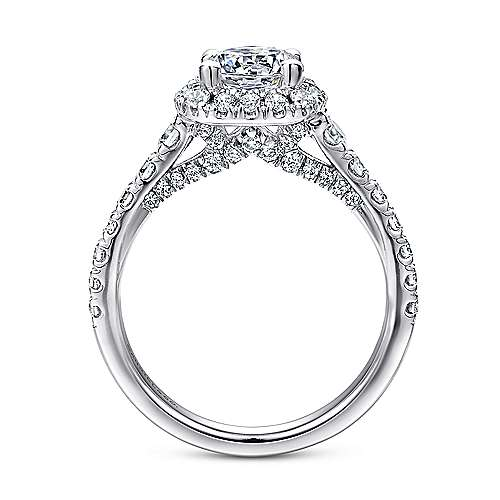Hazel 14k White Gold Round Halo Engagement Ring angle 2