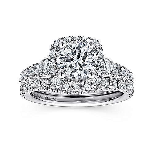 Hazel 14k White Gold Round Halo Engagement Ring angle 4