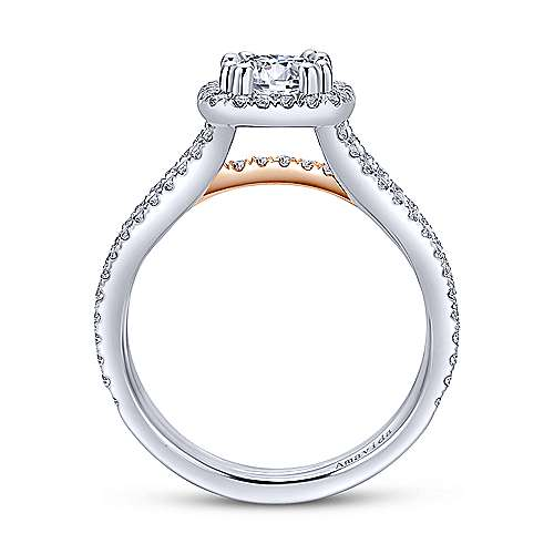 Heath 18k White And Rose Gold Round Halo Engagement Ring angle 2