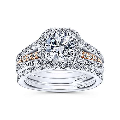 Heath 18k White And Rose Gold Round Halo Engagement Ring angle 4