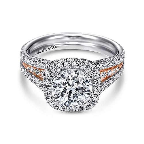 Gabriel - Heath 18k White/pink Gold Round Halo Engagement Ring
