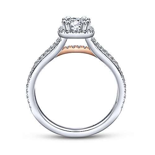 Heath 18k White/rose Gold Round Halo Engagement Ring angle 2