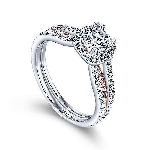 Heath 18k White/rose Gold Round Halo Engagement Ring angle 3