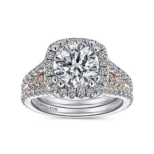 Heath 18k White/rose Gold Round Halo Engagement Ring angle 5