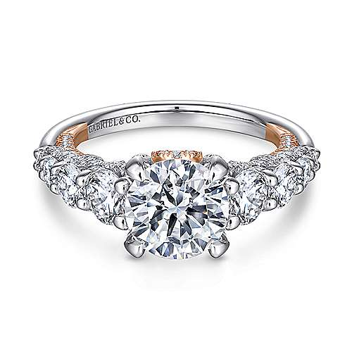 Gabriel - Heather 18k White And Rose Gold Round Straight Engagement Ring