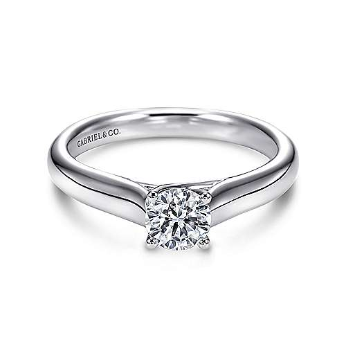 Gabriel - Helen 14k White Gold Round Solitaire Engagement Ring