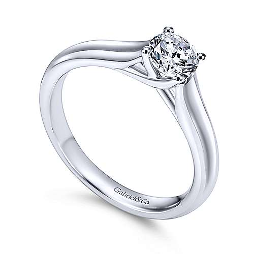 Helen 14k White Gold Round Solitaire Engagement Ring angle 3
