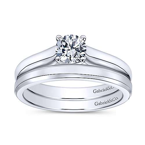 Helen 14k White Gold Round Solitaire Engagement Ring angle 4