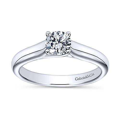 Helen 14k White Gold Round Solitaire Engagement Ring angle 5