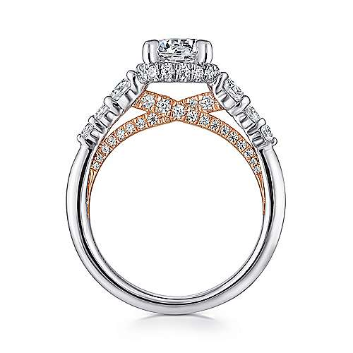 Helena 14k White And Rose Gold Round Straight Engagement Ring angle 2