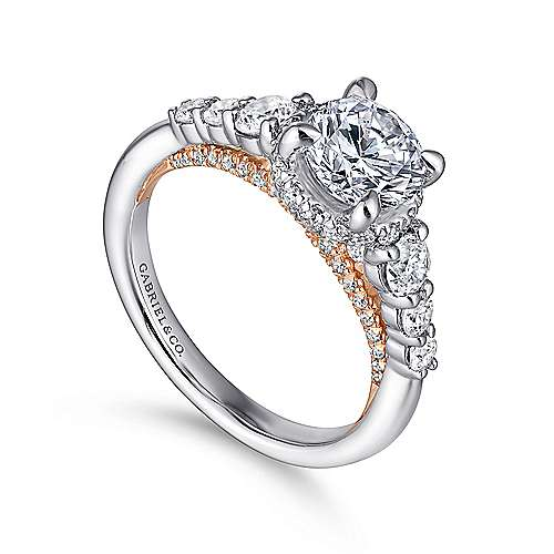 Helena 14k White And Rose Gold Round Straight Engagement Ring angle 3