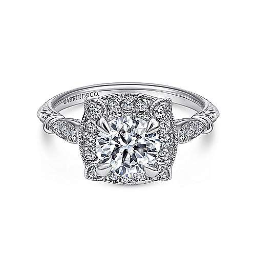 Helene 18k White Gold Round Halo Engagement Ring angle 1