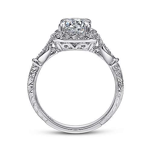 Helene 18k White Gold Round Halo Engagement Ring angle 2
