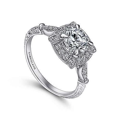 Helene 18k White Gold Round Halo Engagement Ring angle 3